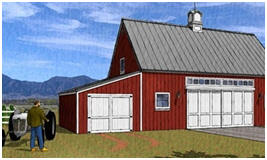 Farm Pole Barn with Tractor