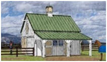 Small Horse Barn Plans with hay Loft and Grooming Shelter