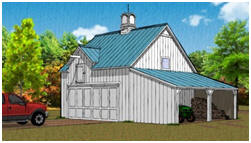 Pole Barn and Garage Plans with Shed and Loft