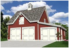 Carriage Barn Style Three Car Garage Plans